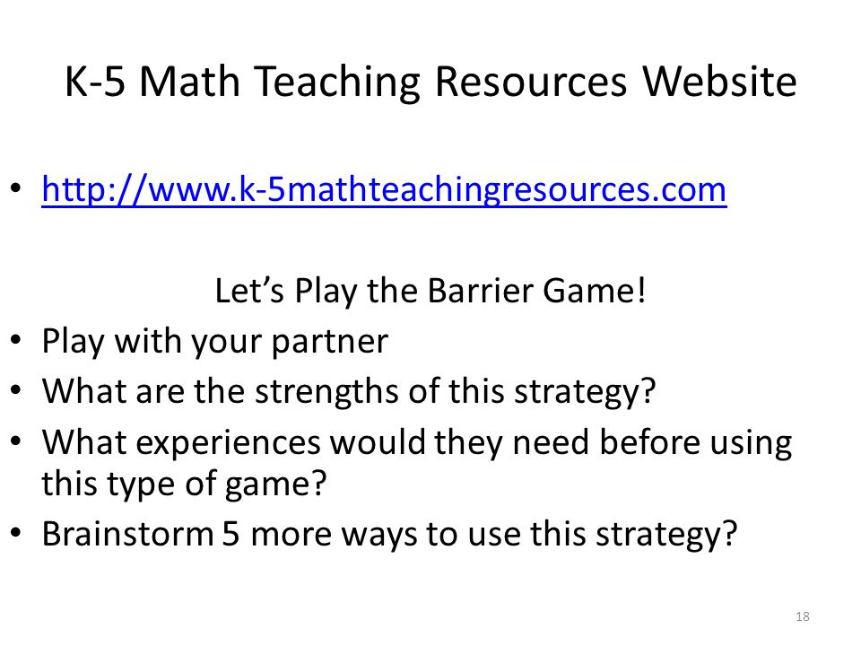K-5 Math Teaching Resources Website   Let's Play the Barrier Game.