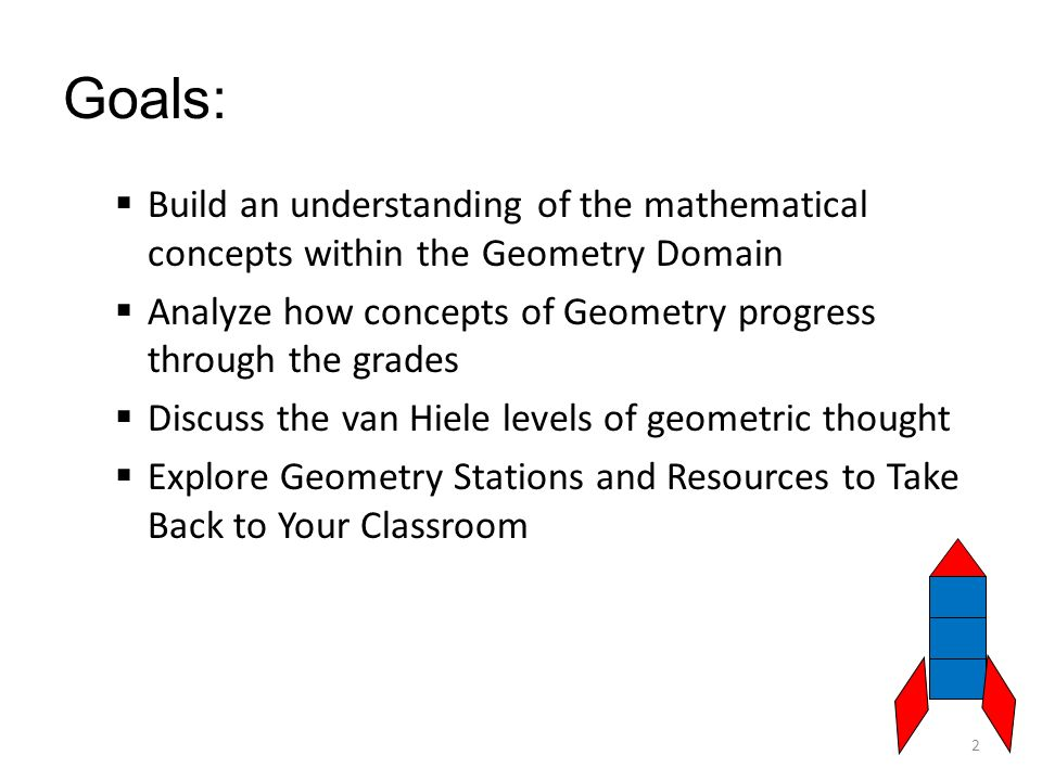 Goals:  Build an understanding of the mathematical concepts within the Geometry Domain  Analyze how concepts of Geometry progress through the grades  Discuss the van Hiele levels of geometric thought  Explore Geometry Stations and Resources to Take Back to Your Classroom 2