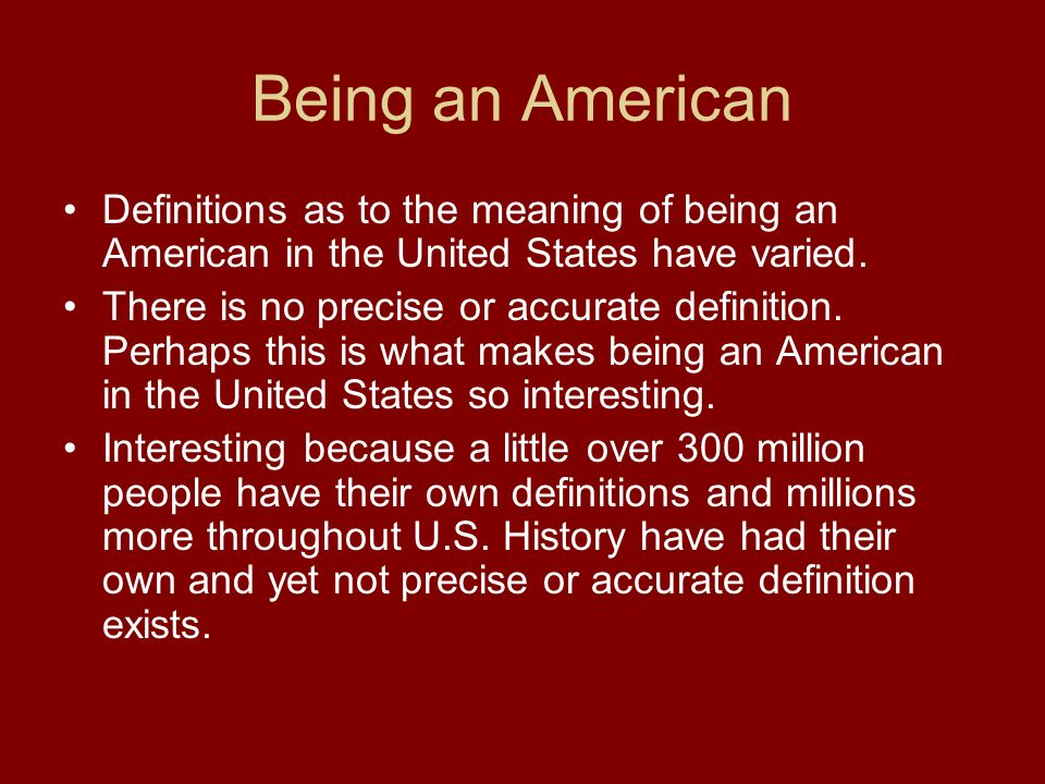 to be an american