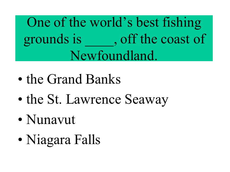 One of the world's best fishing grounds is ____, off the coast of Newfoundland.