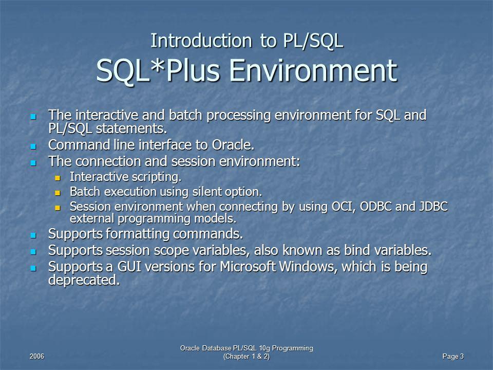 Introduction to PL/SQL Oracle Database PL/SQL 10g