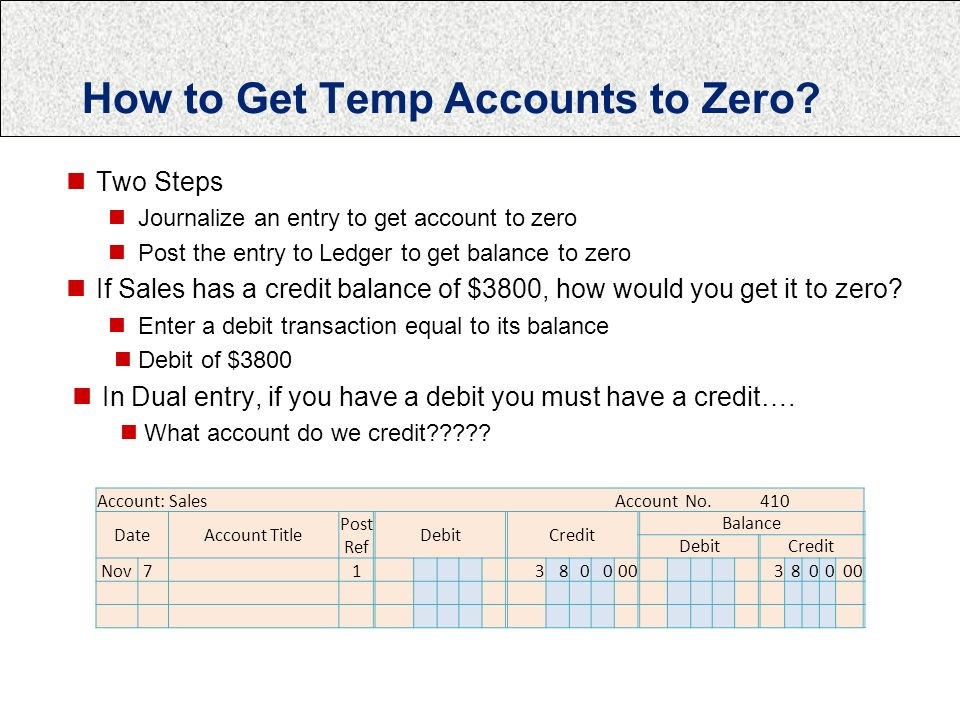 How to Get Temp Accounts to Zero.