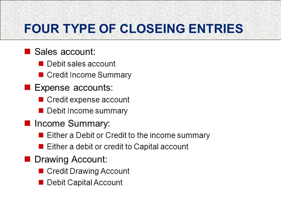 FOUR TYPE OF CLOSEING ENTRIES Sales account: Debit sales account Credit Income Summary Expense accounts: Credit expense account Debit Income summary Income Summary: Either a Debit or Credit to the income summary Either a debit or credit to Capital account Drawing Account: Credit Drawing Account Debit Capital Account
