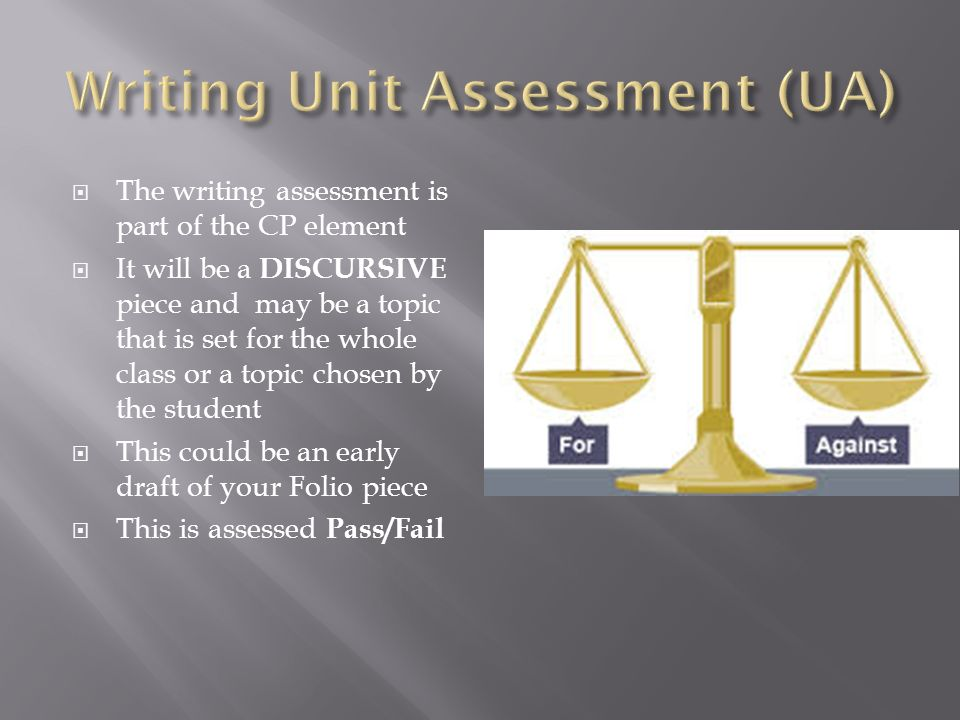  The writing assessment is part of the CP element  It will be a DISCURSIVE piece and may be a topic that is set for the whole class or a topic chosen by the student  This could be an early draft of your Folio piece  This is assessed Pass/Fail