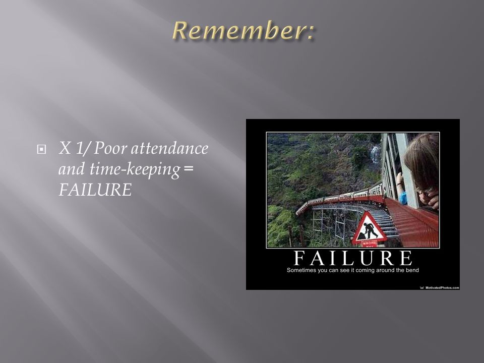  X 1/ Poor attendance and time-keeping = FAILURE