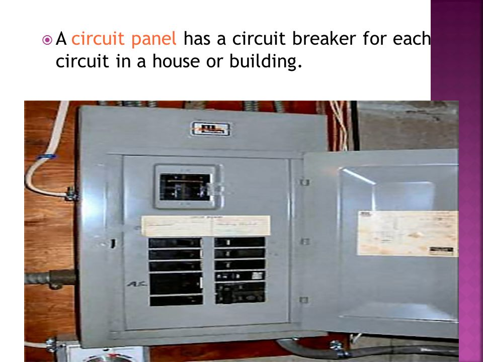  A circuit panel has a circuit breaker for each circuit in a house or building.