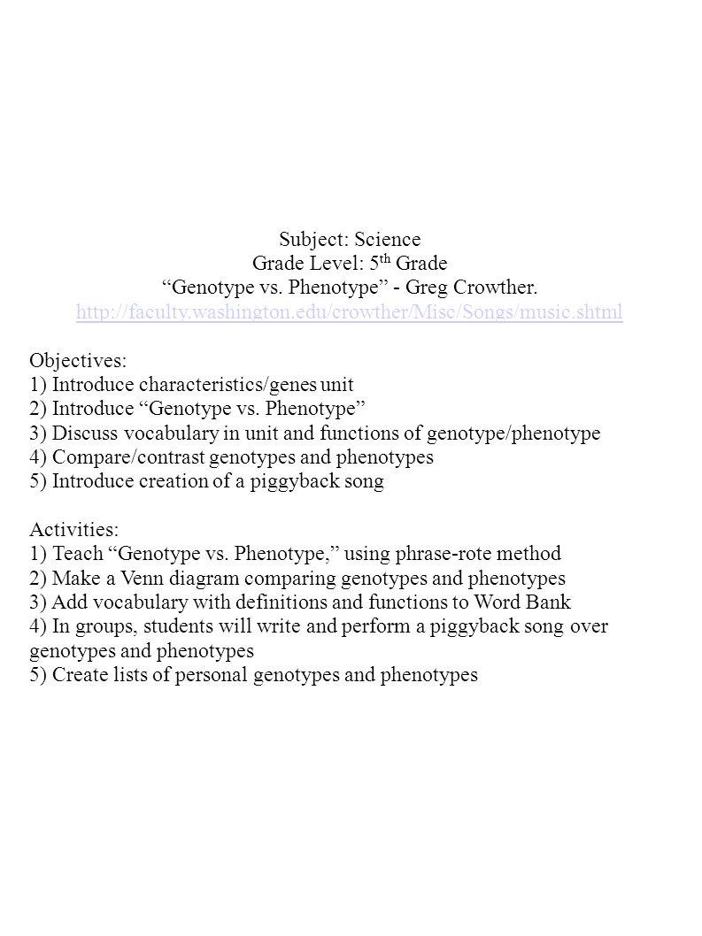 "subject: science grade level: 5 th grade ""genotype vs. phenotype"