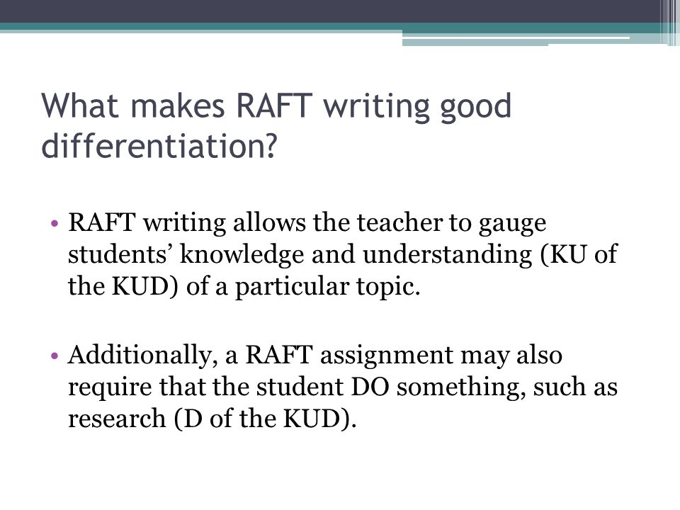 Differentiated Instruction Raft Writing In This Presentation We