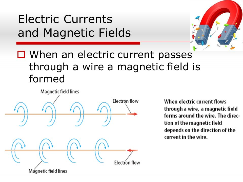 Electric Currents and Magnetic Fields  When an electric current passes through a wire a magnetic field is formed
