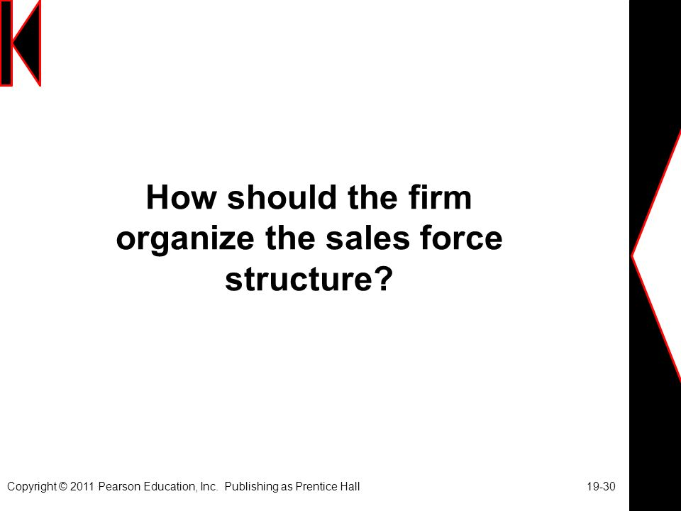 How should the firm organize the sales force structure.