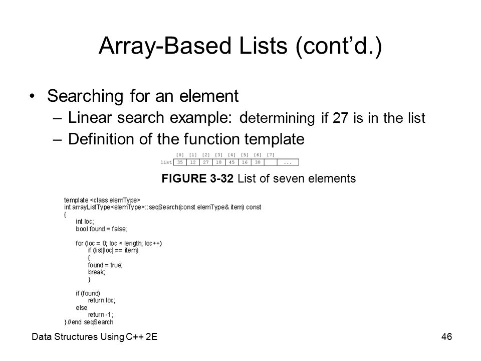 Data Structures Using C++ 2E46 Array-Based Lists (cont'd.) Searching for an element –Linear search example: d etermining if 27 is in the list –Definition of the function template FIGURE 3-32 List of seven elements