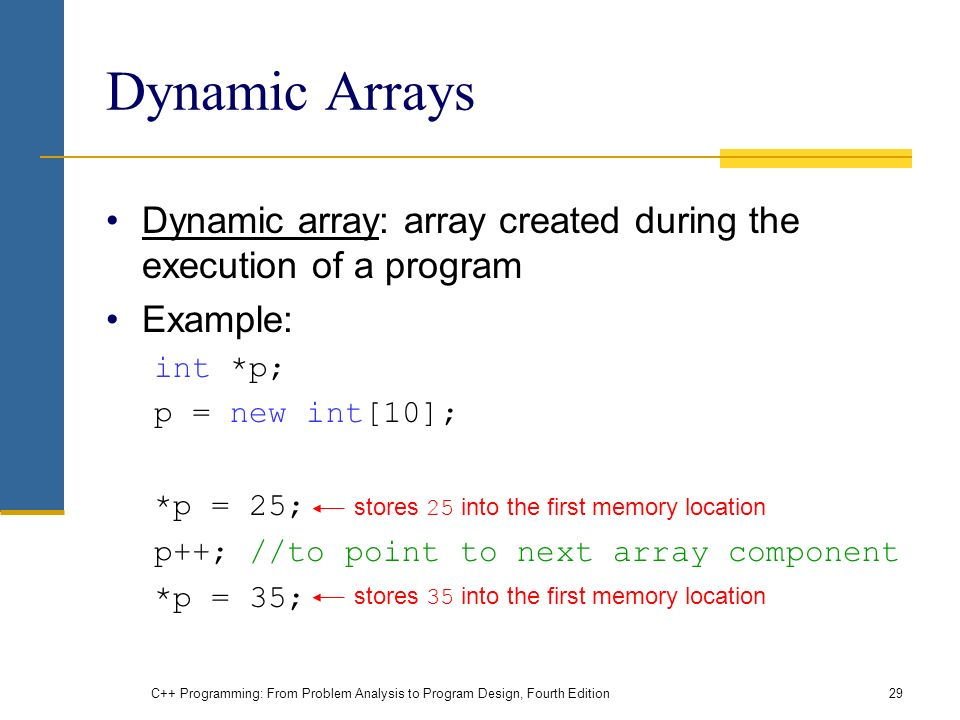 C++ Programming: From Problem Analysis to Program Design, Fourth Edition29 Dynamic Arrays Dynamic array: array created during the execution of a program Example: int *p; p = new int[10]; *p = 25; p++; //to point to next array component *p = 35; stores 25 into the first memory location stores 35 into the first memory location