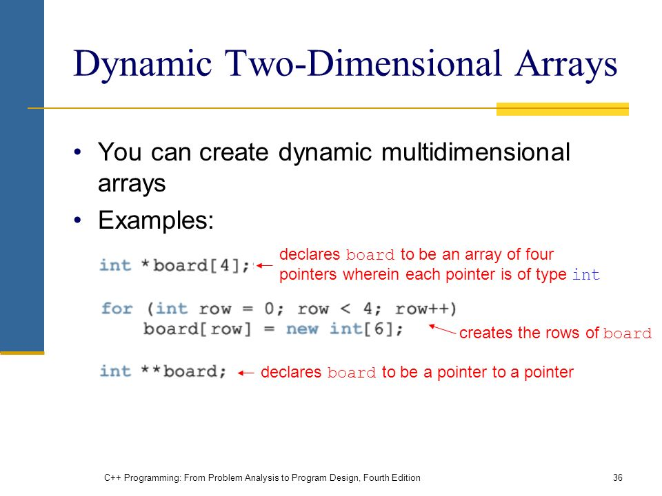 C++ Programming: From Problem Analysis to Program Design, Fourth Edition36 Dynamic Two-Dimensional Arrays You can create dynamic multidimensional arrays Examples: declares board to be an array of four pointers wherein each pointer is of type int creates the rows of board declares board to be a pointer to a pointer