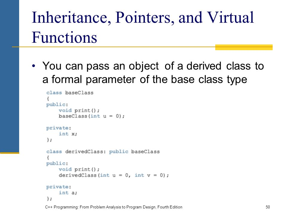 C++ Programming: From Problem Analysis to Program Design, Fourth Edition50 Inheritance, Pointers, and Virtual Functions You can pass an object of a derived class to a formal parameter of the base class type