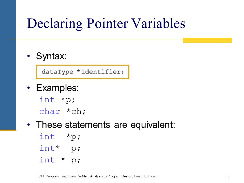 C++ Programming: From Problem Analysis to Program Design, Fourth Edition6 Declaring Pointer Variables Syntax: Examples: int *p; char *ch; These statements are equivalent: int *p;