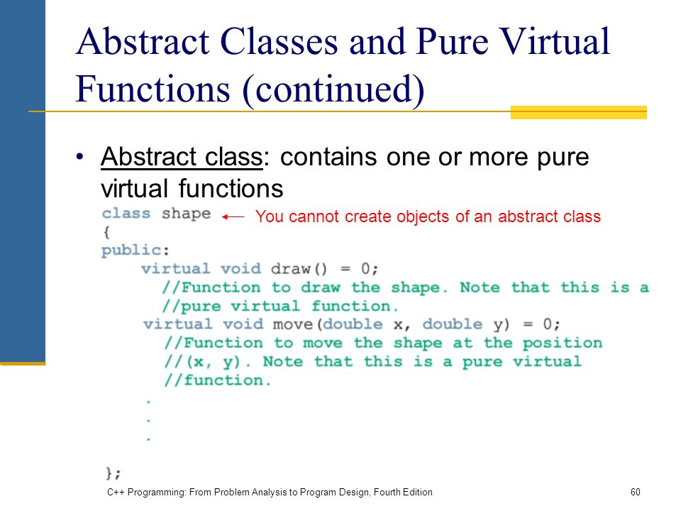 C++ Programming: From Problem Analysis to Program Design, Fourth Edition60 Abstract Classes and Pure Virtual Functions (continued) Abstract class: contains one or more pure virtual functions You cannot create objects of an abstract class
