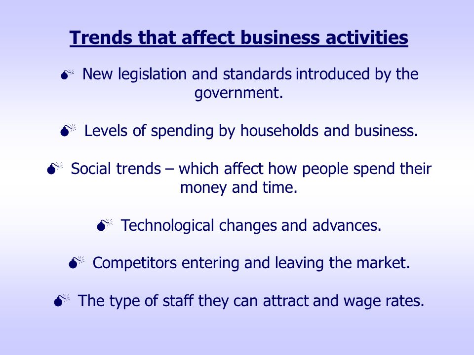 Trends that affect business activities  New legislation and standards introduced by the government.