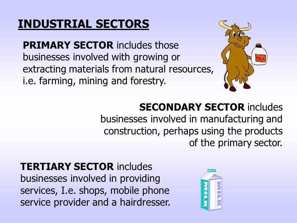 TERTIARY SECTOR includes businesses involved in providing services, I.e.