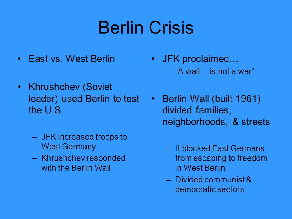 Berlin Crisis East vs. West Berlin Khrushchev (Soviet leader) used Berlin to test the U.S.