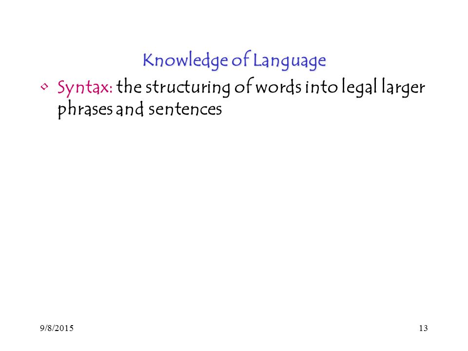 9/8/ Knowledge of Language Syntax: the structuring of words into legal larger phrases and sentences