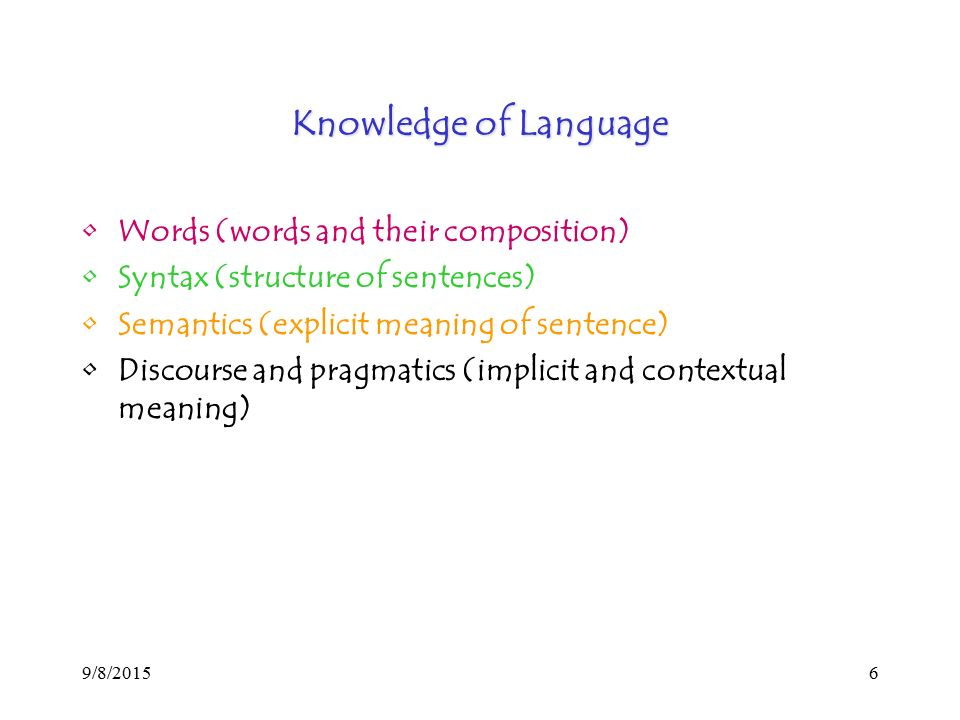 9/8/20156 Knowledge of Language Words (words and their composition) Syntax (structure of sentences) Semantics (explicit meaning of sentence) Discourse and pragmatics (implicit and contextual meaning)