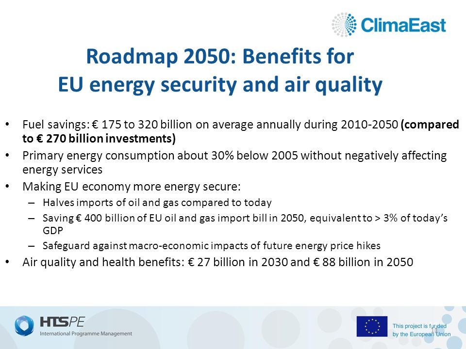 11 Roadmap 2050: Benefits for EU energy security and air quality Fuel savings: € 175 to 320 billion on average annually during (compared to € 270 billion investments) Primary energy consumption about 30% below 2005 without negatively affecting energy services Making EU economy more energy secure: – Halves imports of oil and gas compared to today – Saving € 400 billion of EU oil and gas import bill in 2050, equivalent to > 3% of today's GDP – Safeguard against macro-economic impacts of future energy price hikes Air quality and health benefits: € 27 billion in 2030 and € 88 billion in
