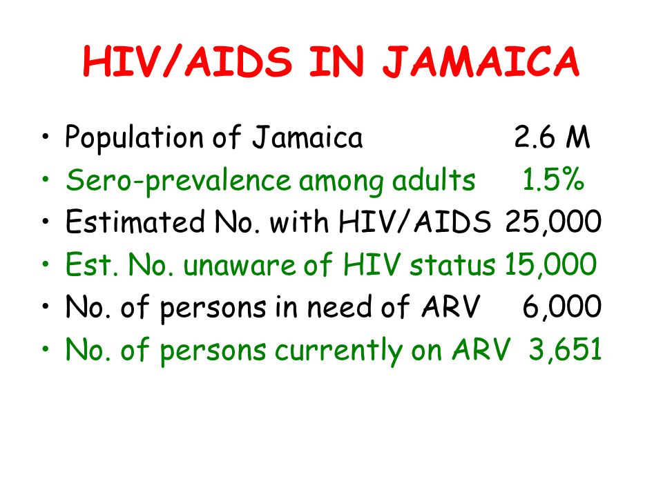 Population of Jamaica 2.6 M Sero-prevalence among adults 1.5% Estimated No.