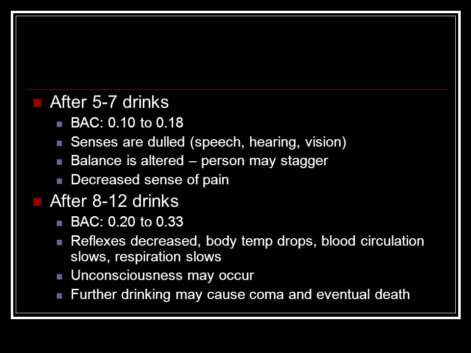 After 5-7 drinks BAC: 0.10 to 0.18 Senses are dulled (speech, hearing, vision) Balance is altered – person may stagger Decreased sense of pain After 8-12 drinks BAC: 0.20 to 0.33 Reflexes decreased, body temp drops, blood circulation slows, respiration slows Unconsciousness may occur Further drinking may cause coma and eventual death
