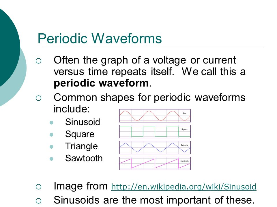 Egr 2201 unit 11 sinusoids and phasors read alexander sadiku periodic waveforms often the graph of a voltage or current versus time repeats itself ccuart Choice Image