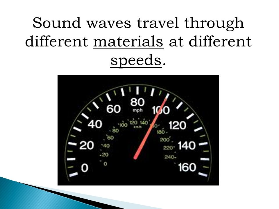Sound waves travel through different materials at different speeds.