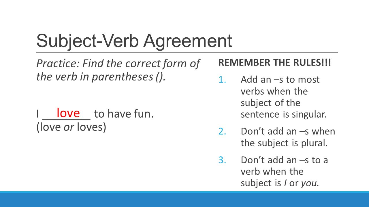 Subject Verb Agreement Brought To You By Powerpointpros Ppt