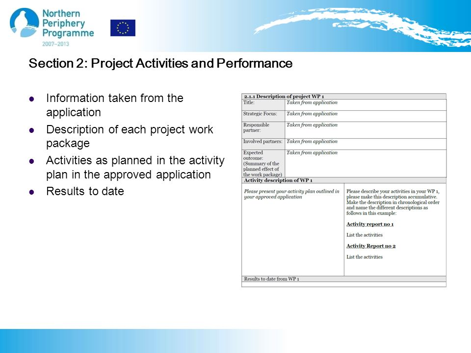 Section 2: Project Activities and Performance Information taken from the application Description of each project work package Activities as planned in the activity plan in the approved application Results to date