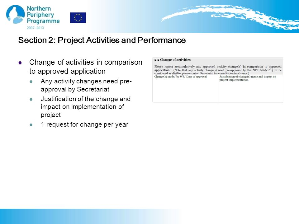 Section 2: Project Activities and Performance Change of activities in comparison to approved application Any activity changes need pre- approval by Secretariat Justification of the change and impact on implementation of project 1 request for change per year
