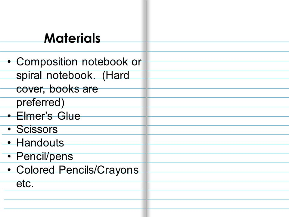 Materials Composition notebook or spiral notebook.