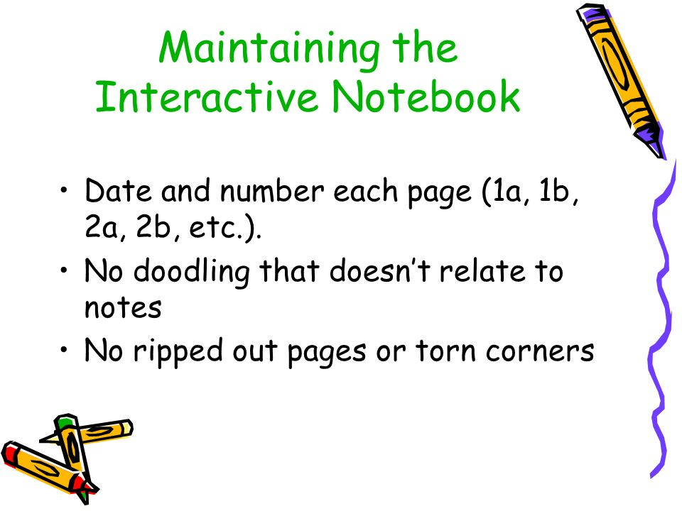 Maintaining the Interactive Notebook Date and number each page (1a, 1b, 2a, 2b, etc.).