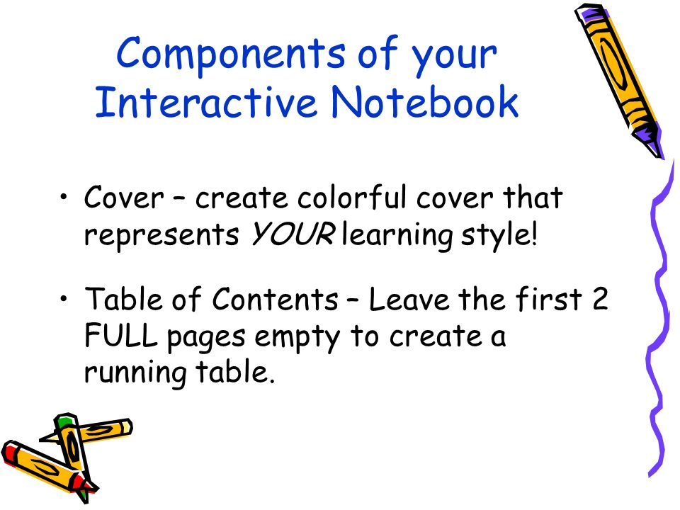 Components of your Interactive Notebook Cover – create colorful cover that represents YOUR learning style.