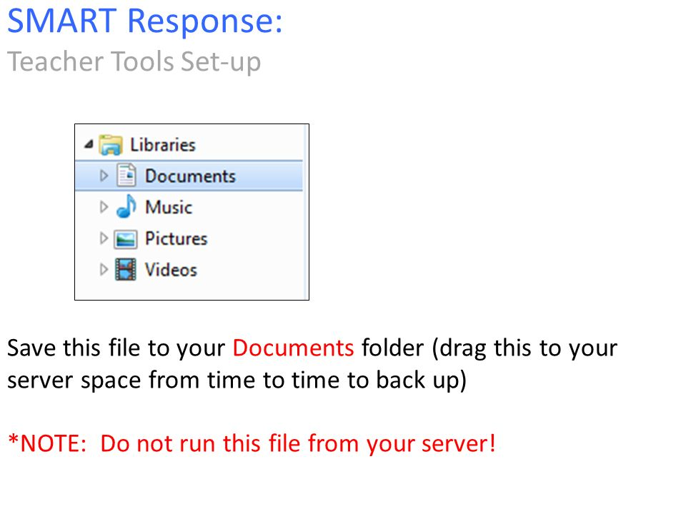 Save this file to your Documents folder (drag this to your server space from time to time to back up) *NOTE: Do not run this file from your server.