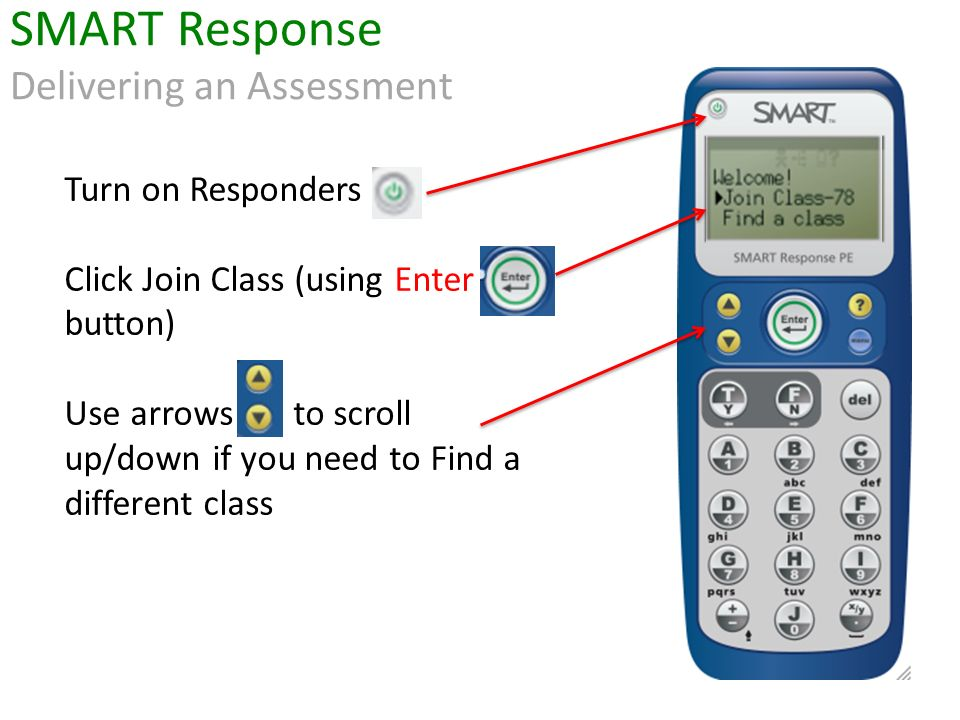 Turn on Responders Click Join Class (using Enter button) Use arrows to scroll up/down if you need to Find a different class SMART Response Delivering an Assessment