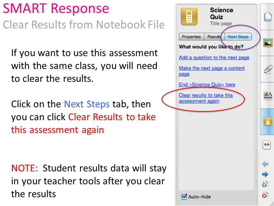If you want to use this assessment with the same class, you will need to clear the results.