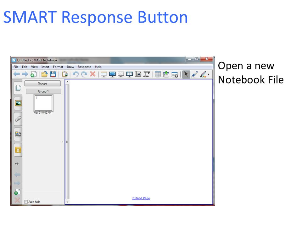 SMART Response Button Open a new Notebook File