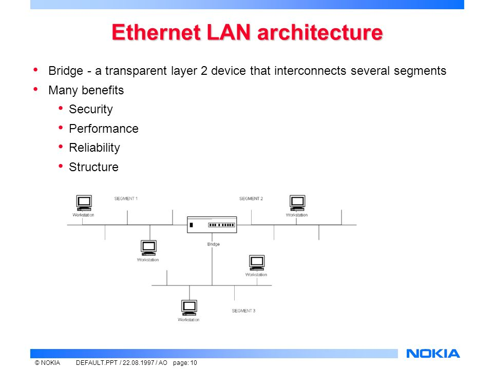 © NOKIADEFAULT.PPT / / AO page: 10 Ethernet LAN architecture Bridge - a transparent layer 2 device that interconnects several segments Many benefits Security Performance Reliability Structure