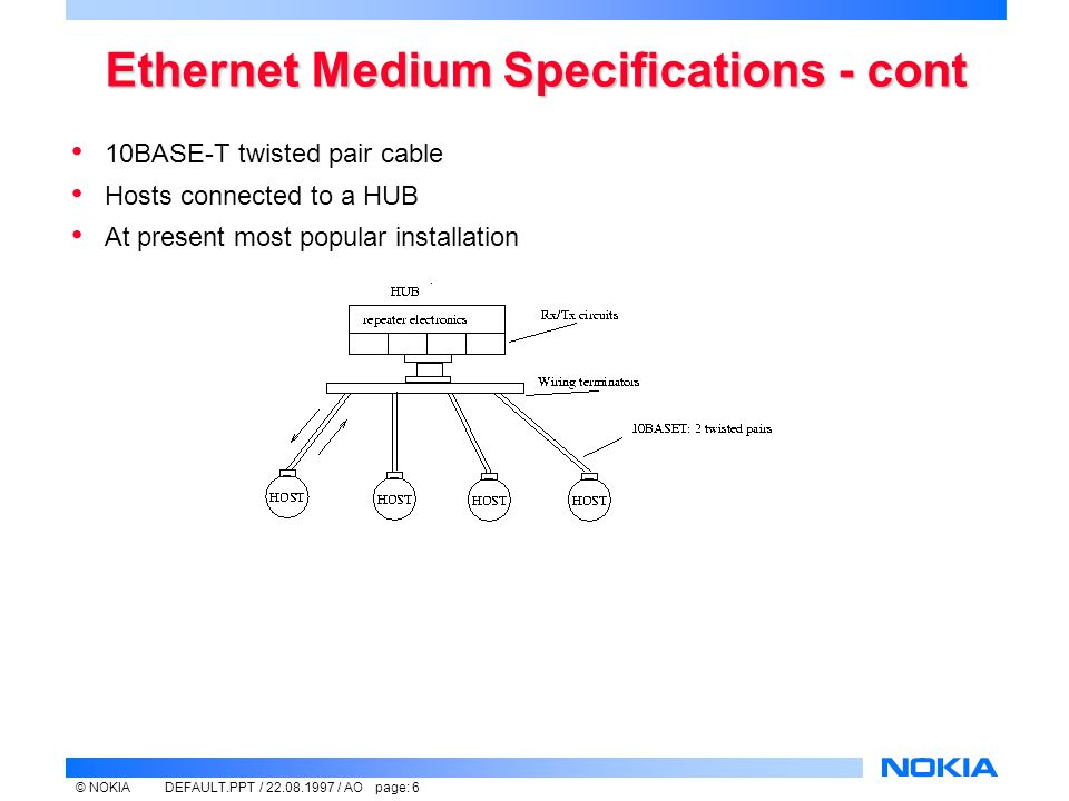 © NOKIADEFAULT.PPT / / AO page: 6 Ethernet Medium Specifications - cont 10BASE-T twisted pair cable Hosts connected to a HUB At present most popular installation