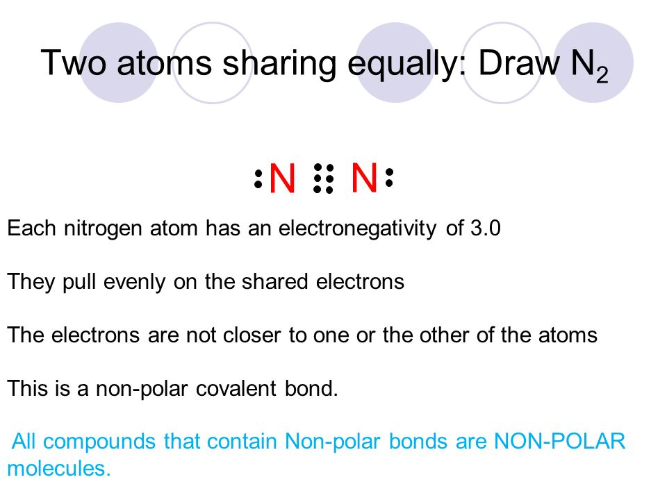 Section 5 4 Polarity Of Molecules Two Atoms Sharing Equally Draw N 2 N N Each Nitrogen Atom Has An Electronegativity Of 3 0 They Pull Evenly On The Ppt Download