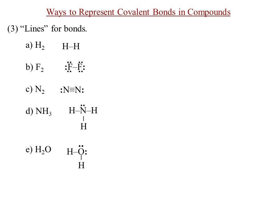 Ways to Represent Covalent Bonds in Compounds (3) Lines for bonds.