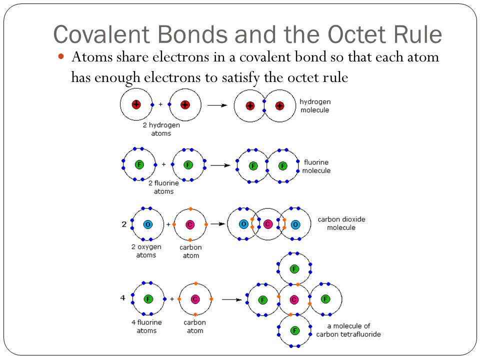 Covalent Bonds and the Octet Rule Atoms share electrons in a covalent bond so that each atom has enough electrons to satisfy the octet rule