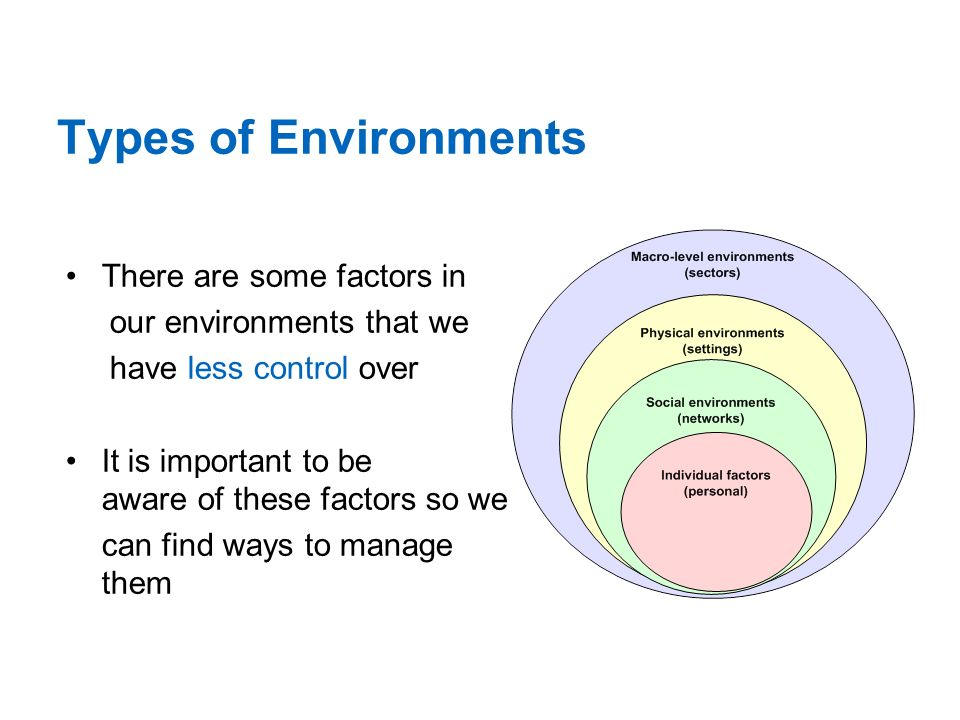Types of Environments There are some factors in our environments that we have less control over It is important to be aware of these factors so we can find ways to manage them