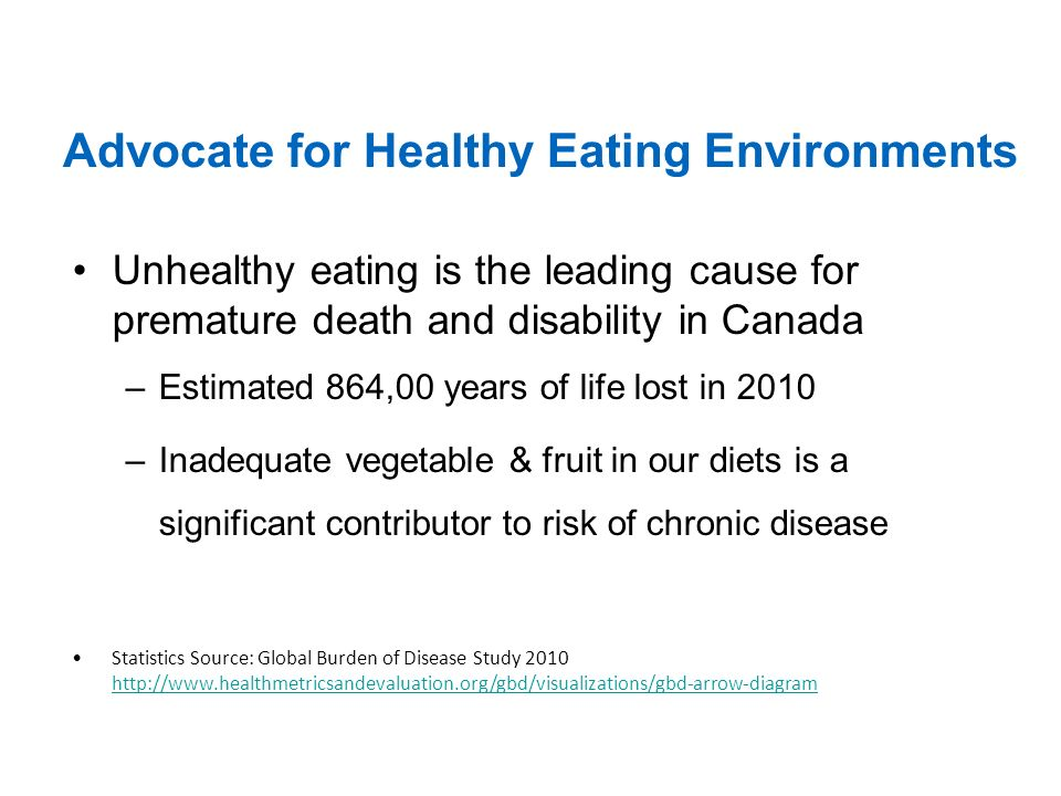 Advocate for Healthy Eating Environments Unhealthy eating is the leading cause for premature death and disability in Canada –Estimated 864,00 years of life lost in 2010 –Inadequate vegetable & fruit in our diets is a significant contributor to risk of chronic disease Statistics Source: Global Burden of Disease Study