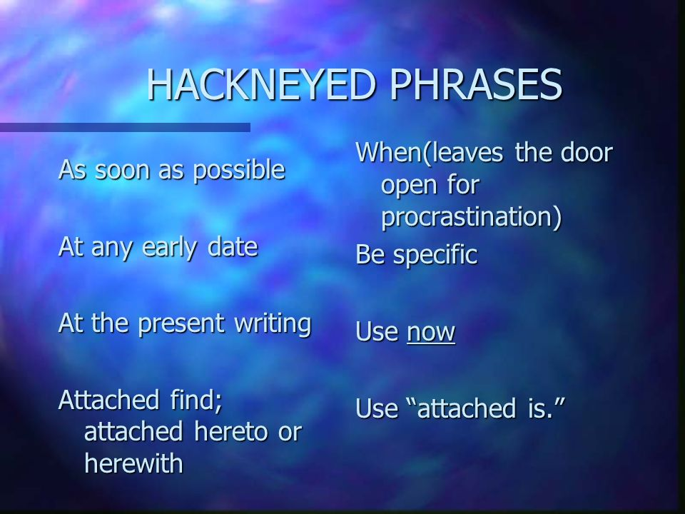 hackneyed expressions in business writing