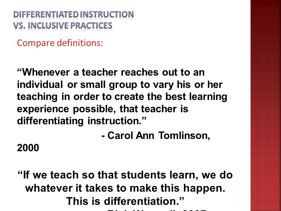 Differentiated Instruction Aka Inclusive Practices Delaware