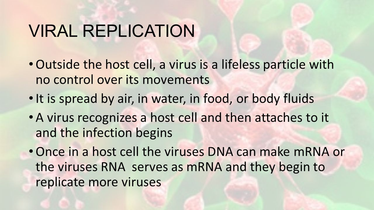 VIRAL REPLICATION Outside the host cell, a virus is a lifeless particle with no control over its movements It is spread by air, in water, in food, or body fluids A virus recognizes a host cell and then attaches to it and the infection begins Once in a host cell the viruses DNA can make mRNA or the viruses RNA serves as mRNA and they begin to replicate more viruses